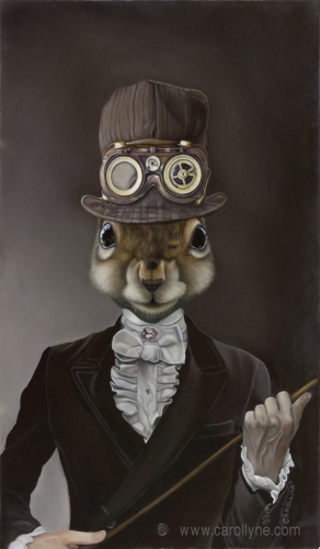 Steam Punk Squirrel 14 X 24 Oil on board 2011. SOLD Private Collection