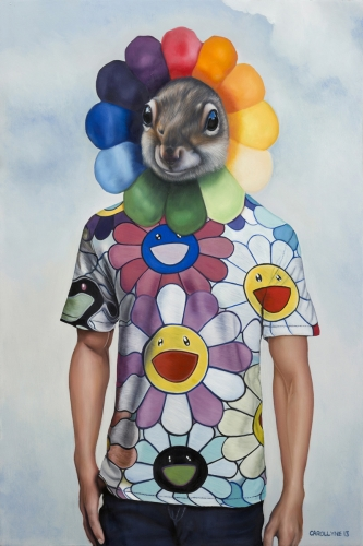 "Murakami Squirrel 24"" x 36"" Oil on panel 2013 SOLD Private Collection"