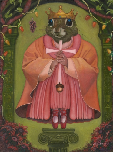 "Saint Squirrel: Protecting You 'Cause You're Nuts 18"" x 24"" Oil on canvas 2010."