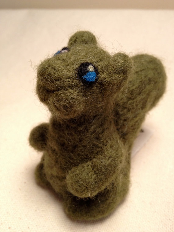 Needle felted wool Green Squirrel from the Squirrealism series