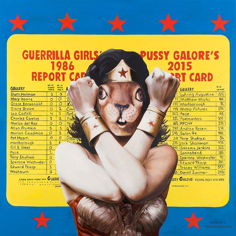 Title: Guerrilla Squirrel (after Guerrilla Girls and Pussy Galore) Size: 48 x 48 Medium: Oil on wood panel Date: 2015