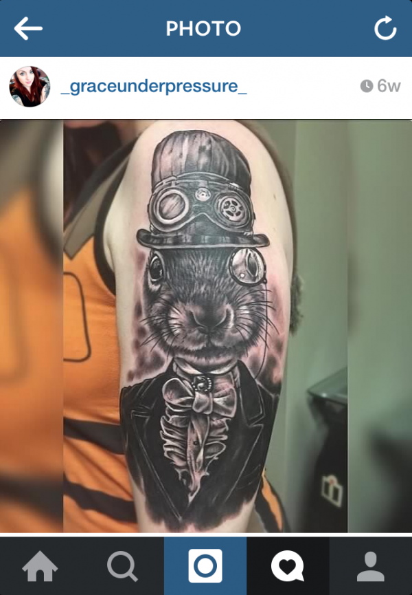 First tattoo inspired by my art: Steampunk Squirrel. Screen capture via Instagram _graceunderpressure_
