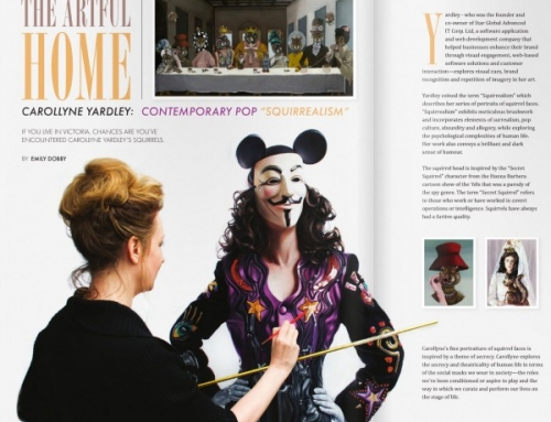 """The Artful Home. Carollyne Yardley: Contemporary Pop """"Squirrealism"""". At Home Magazine May/June 2015"""