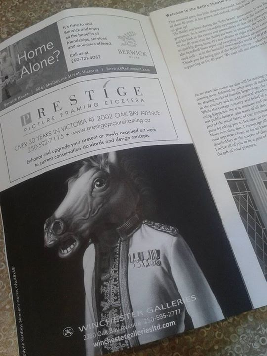 Skinner's Horse featured in the Belfry Theatre's August 4-23, 2015 program for BOOM.