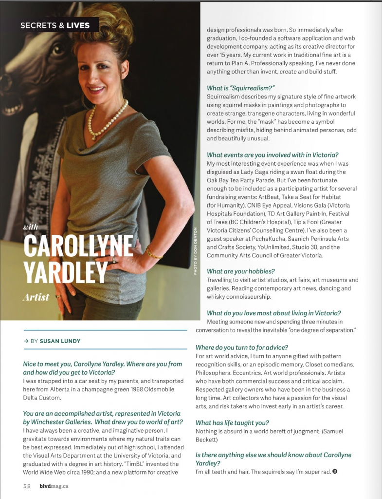 Carollyne Yardley featured: Secrets and Lives by Susan Lundy, Boulevard Magazine, pg. 58, Sept 2015.