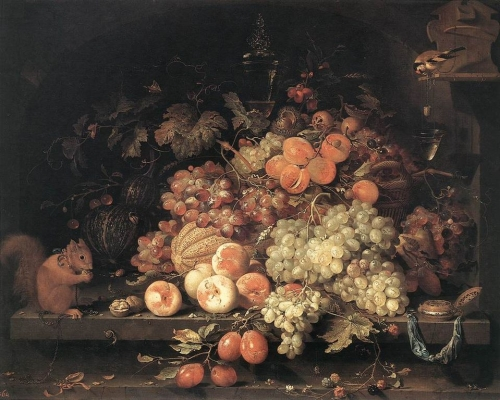 Abraham Mignon (1640–1679). Fruit Still-Life with Squirrel and Goldfinch Date: second half of 17th century. oil on canvas. Museumslandschaft of Hesse in Kassel