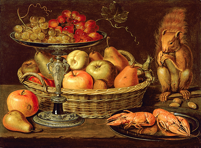 JVH403594 Still life with silver-gilt tazza (oil on panel) by Peeters, Clara (1594-1659); 34.1x46.8 cm; Private Collection; Johnny Van Haeften Ltd., London; Netherlandish.