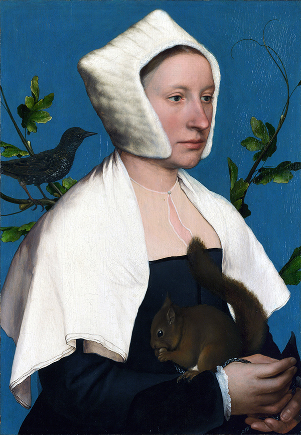 A Lady with a Squirrel and a Starling (Anne Lovell?) about 1526-8, Hans Holbein the Younger