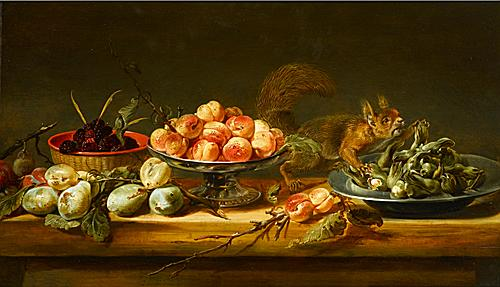 FRANS SNYDERS (ANTWERP 1579 - ANTWERP 1657) Still Life with Peaches in a Tazza, Cobnuts on a Pewter Plate, Blackberries in a Basket, with Pears and a Squirrel on a Table oil on panel 50 x 84 cm (19 3/4 x 33 1/8 in.)