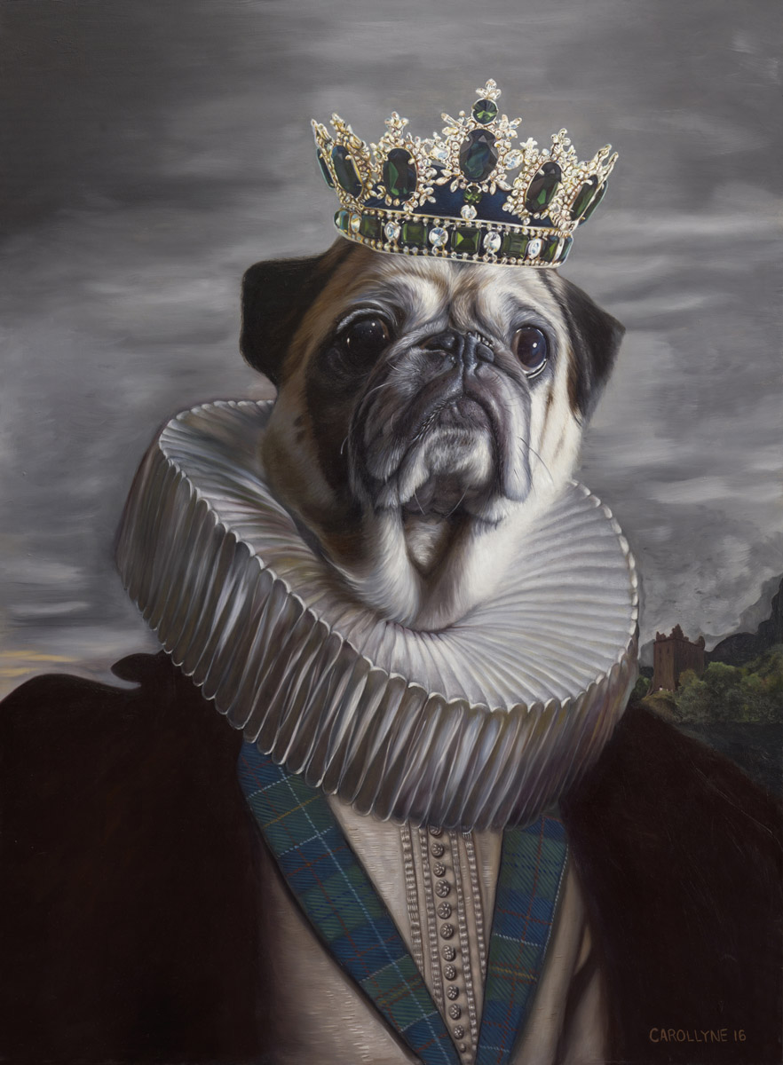 "Lord Rocco (the Pug) 36"" x48"" Oil on Panel 2016"