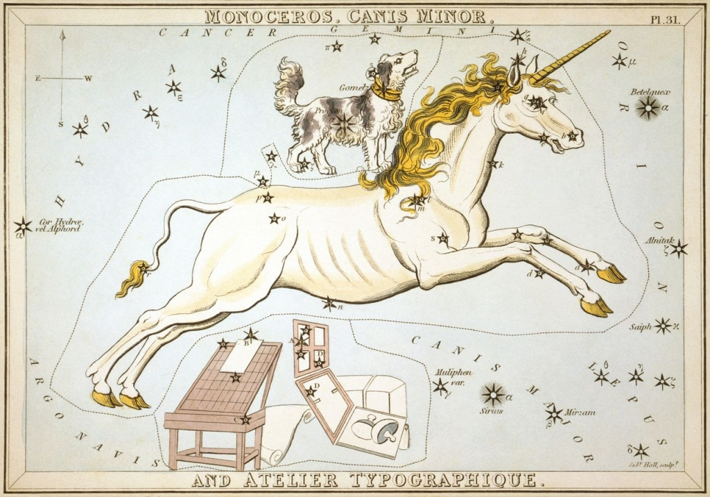 The constellation Monoceros, from Urania's Mirror, a set of star charts from 1825. Includes Canis Minor and the obsolete constellation Atelier Typographique