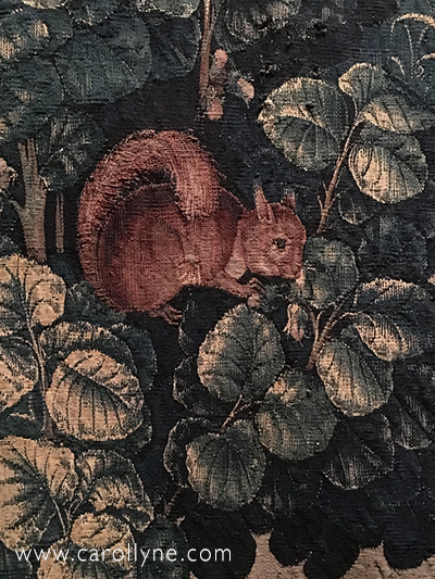 Squirrel in a Hazelnut Tree. Details from the Unicorn is Killed and brought to the Castle, the sixth tapestry of the series, The Hunt of the Unicorn. Probably 1500's. The Met, Cloisters Collection, Gift of John D. Rockefeller, Jr., 1937