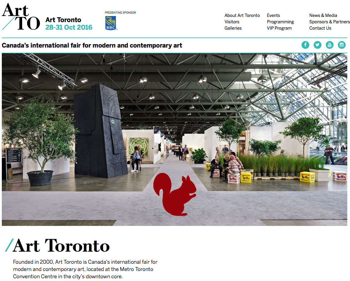 Screen capture from Art Toronto website 2016-03-23 with addition of red squirrel.