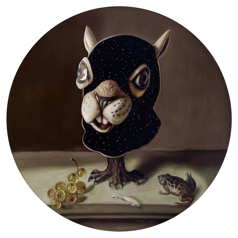 "Still Life Squirrel Mask, 36"" diameter, oil on panel, 2016."