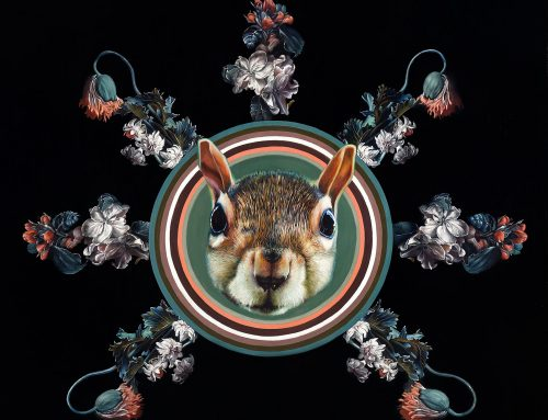 Sun Squirrel influenced by Rande Cook Sun Mask. How art is alive, influenced and always changing.