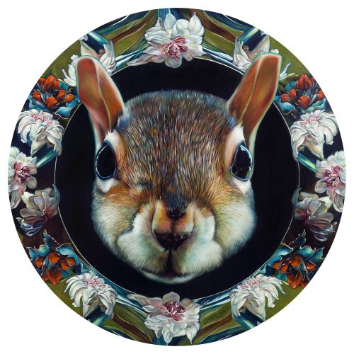 "Moon Squirrel, 36"" diameter, oil on panel, 2017"