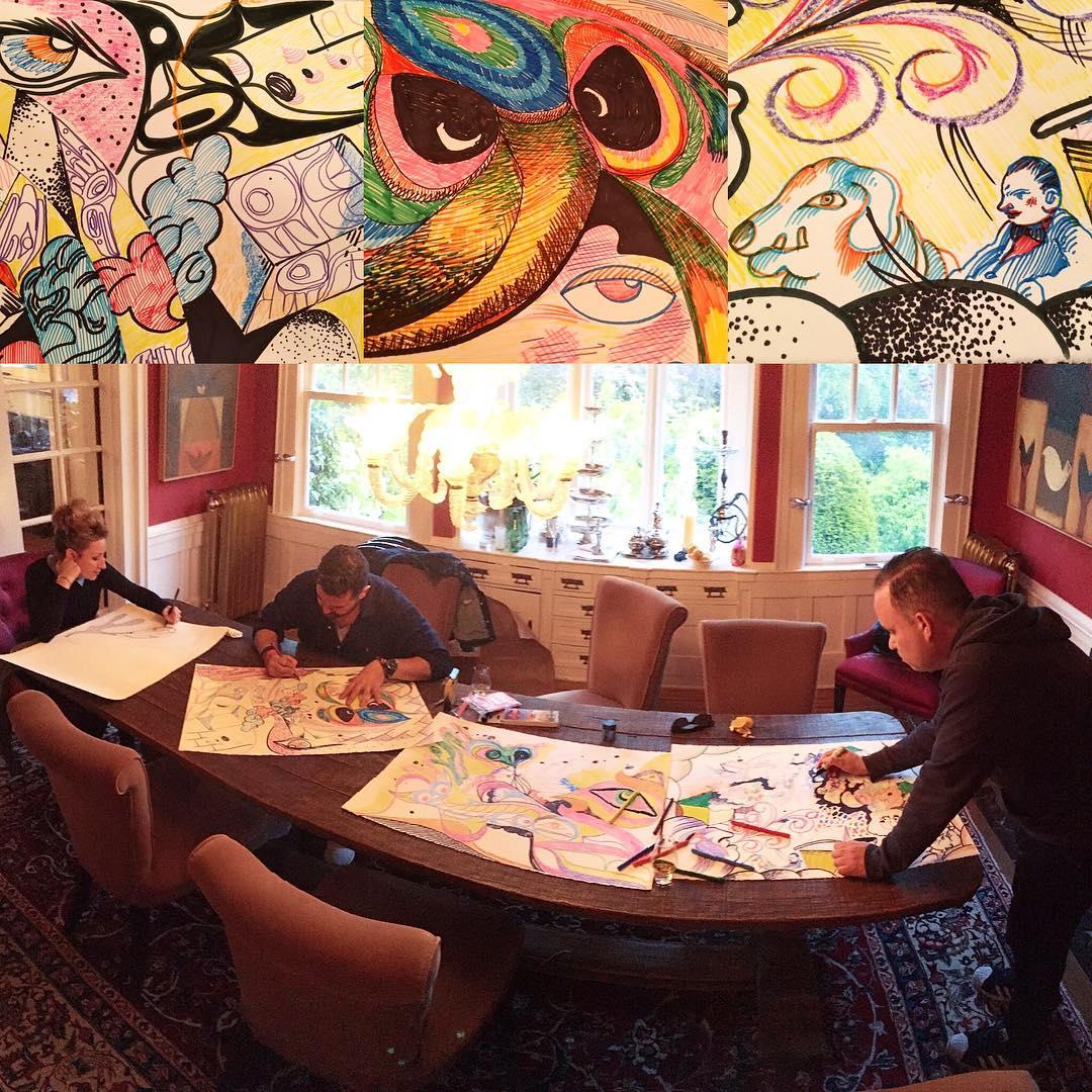 The Drawing Room w/ Rande Cook, Carollyne Yardley and Noah Becker. At the Woodsies. Photo credit: Dev Wood. #worksonpaper #canadianart #curator #arttoronto #artcollector #yyj #yvr #nycart #northwestcoast #contemporaryart @ola_randelini @noahbeckerstudio @carollyneyardley @christinewoodonlinepr @dev.wood #carollyneyardley #noahbecker #randecook
