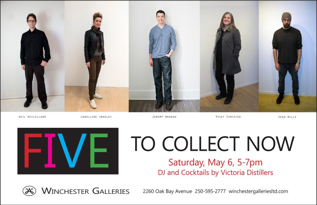 FIVE May 2 - 27, 2017 An exhibition of contemporary art from Vicky Christou, Jeremy Mangan, Neil McClelland, Sean Mills and Carollyne Yardley