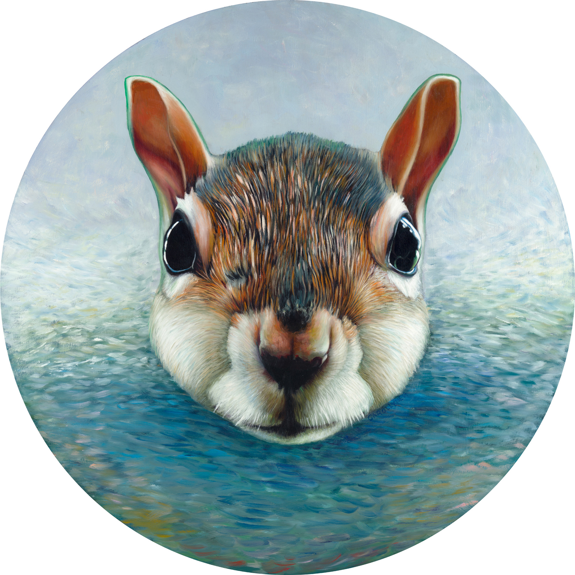 "La Mer Squirrel, oil on panel, 30"" diameter, 2017"