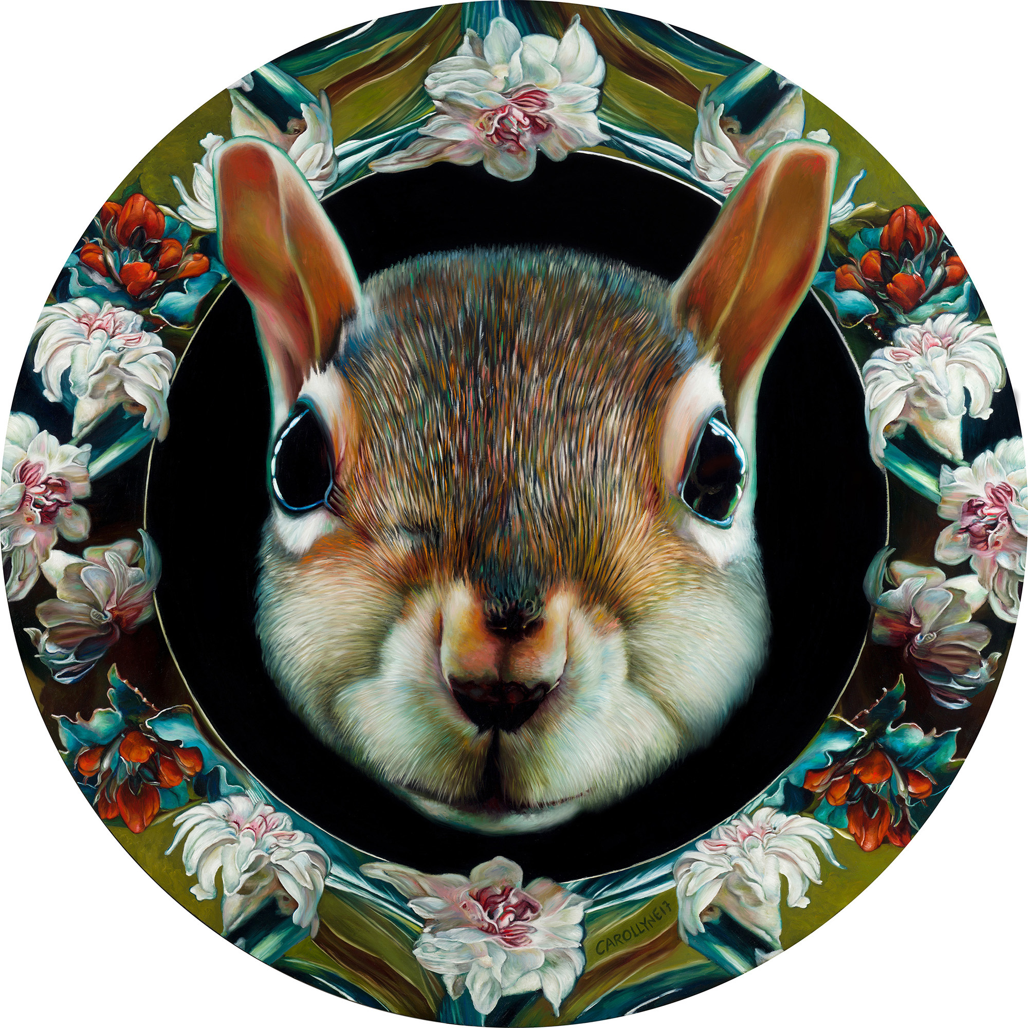 "Moon Squirrel, 36"" diameter, oil on panel, 2017."