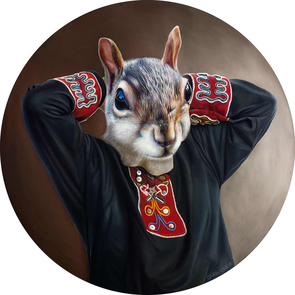 "Chief Rande Cook Squirrel Tunic 30"" diameter Oil on panel 2017"