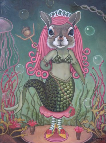 "Mermaid Squirrel: Standing on Her Own Two Feet, 18"" x 24"", acrylic on canvas, 2010, SOLD"