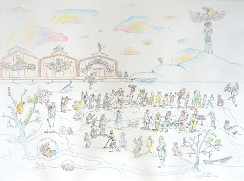 "The Layered World 22"" x 30"" Pen and pencil crayon on paper Rande Cook, Carollyne Yardley, Noah Becker 2018"