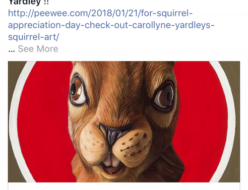 Pee-wee Herman posts Carollyne Yardley squirrel art for Squirrel Appreciation Day, January 21, 2018