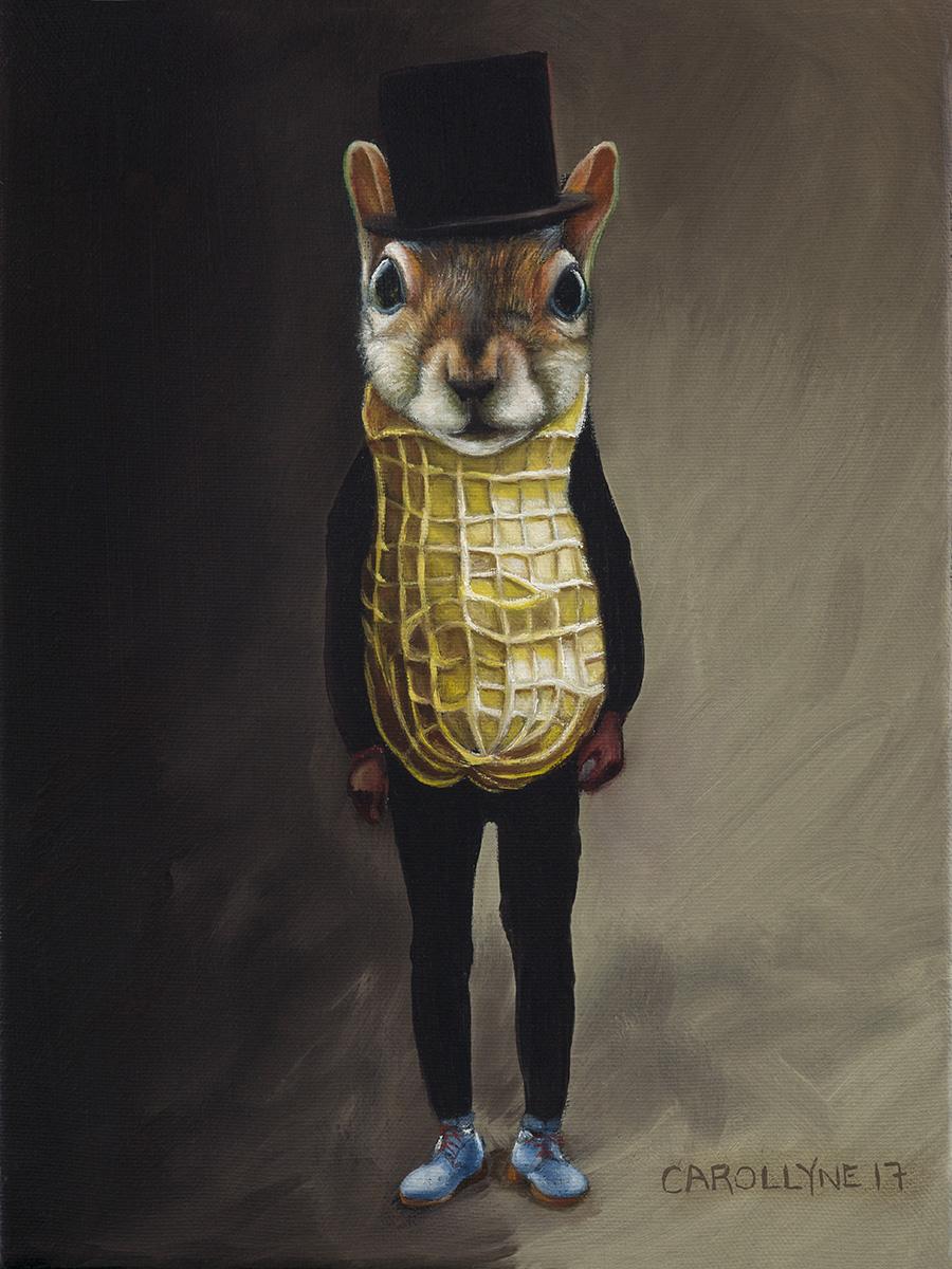 "Mr Peanut Squirrel aka Vincent Trasov, 9"" x 11"" oil on canvas, 2017"