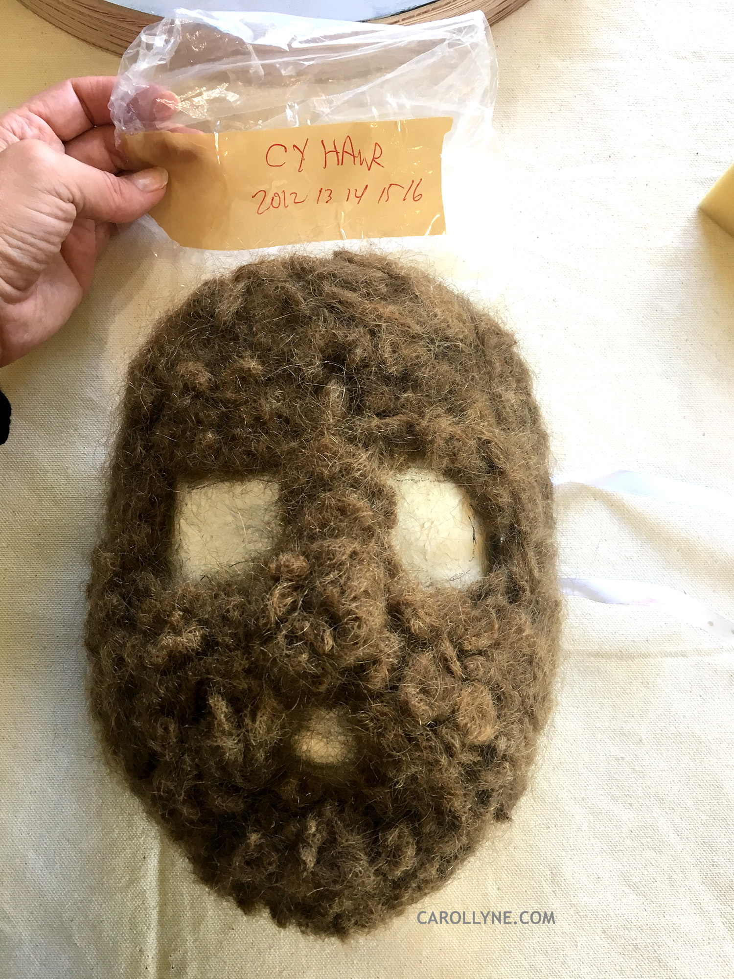 Bag 2012-2018 and first shape of needle felted hair mask.