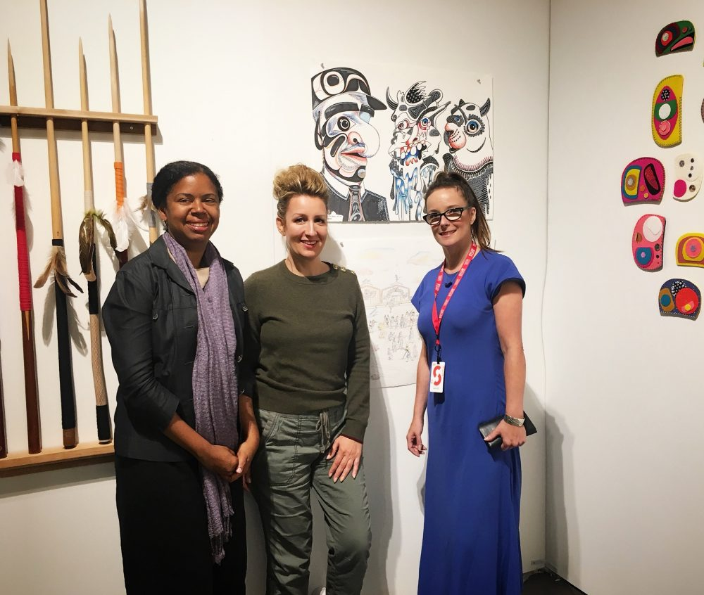 With two of my favourite people -Michelle Jacques, Chief Curator, AGGV and Lateisha Fazakas at the Seattle Art Fair at Fazakas Gallery Booth H10. Photo by Laurie White. @jacques_michelle @fazakasgallery @laurie.rose.luck @artgalleryvic @seattleartfair #seattleartfair #seattleartfair2018 #fazakasgallery #carollyneyardley #carollyne