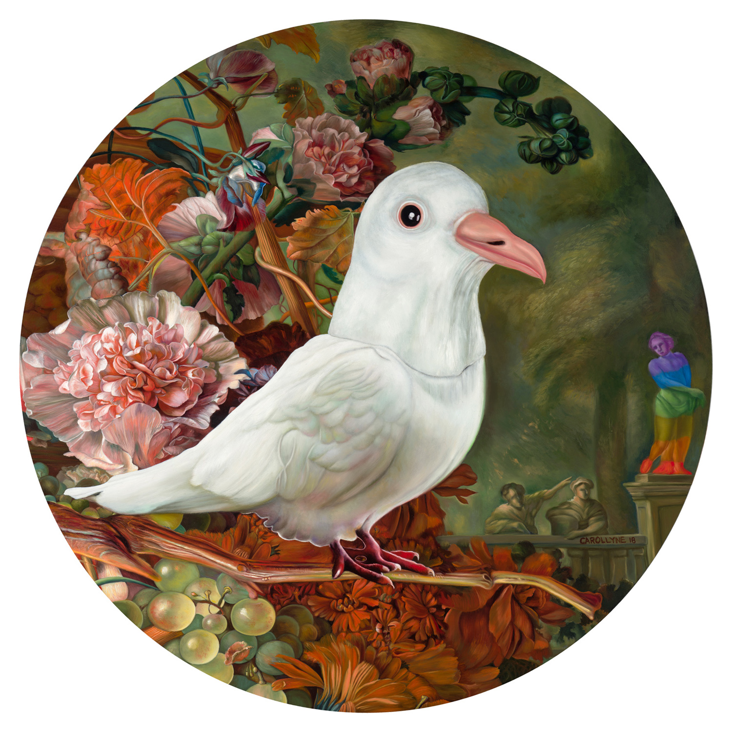"Holy Spirit Wears a Dove Mask II (Commission) 36"" diameter, oil on panel, 2018"