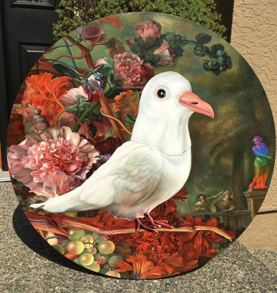 """Holy Spirit Wears a Dove Mask II (2018) Commission. Oil on panel, 36"""" diameter. Photos and high resolution details. #contemporaryart #dove #carollyneyardley #oilpainting"""
