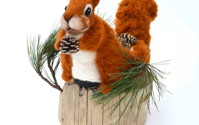 Squirrel: Nature's Natural Gardener, Needle felting wool, reindeer slipper, beach combed timber, locally foraged pine fronds and cones, 13