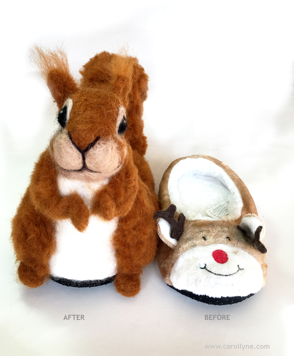 Before and After. Reindeer Slipper transformed into Squirrel.