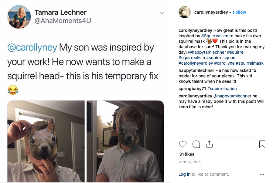 Posted at Instagram by Tamara Lechner about her son who is inspired by Squirrealism. June 18, 2018
