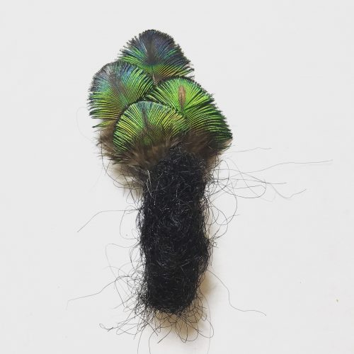 Human hair, peacock feather, 3.5″ x 2″, 2019
