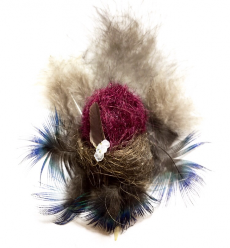 Peacock feathers, dyed human hair, untreated human hair, salt and borax crystals, cypress tree, 6″ x 3″, 2019
