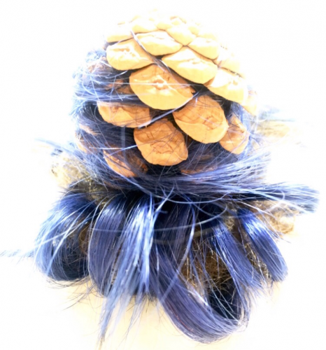 Pinecone, dyed human hair, untreated human hair, 3.5″ x 4.25″, 2019
