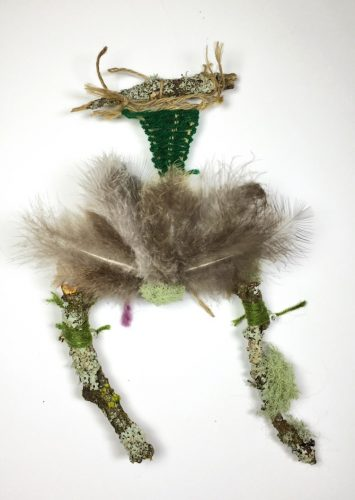 Nest, Beacon Hill Park (Winter), found items include Garry oak tree branches, lichen, string, peafowl feathers, 7″ x 12″ x 2″