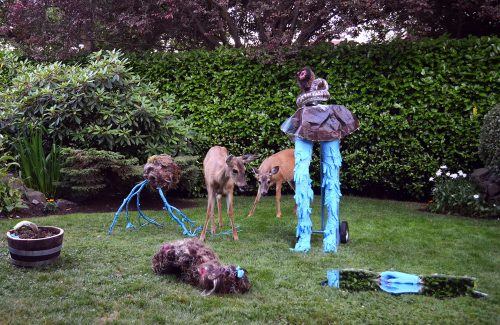 Pandemic Sculpture Garden with visiting Black-tailed deer, Installation View, 11' x 6′