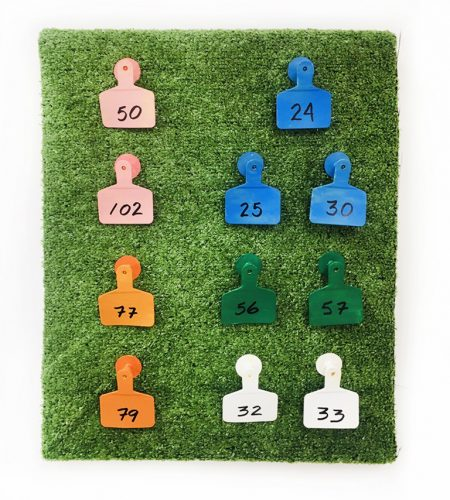 Urban Deer Hunter, 2020 detail  agricultural ear tags, astro turf