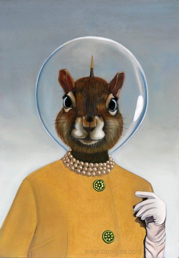 Carollyne Yardley, Space Hat Squirrel, oil on board, 14 x 20