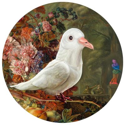 "Holy Spirit wears a Dove Mask, oil on panel, 36"" tondo, 2016"