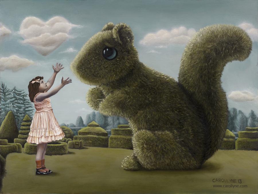 Romancing the Squirrel, 18 x 24, Oil on Board, 2013, Carollyne Yardley aka I Love you Big Bush Squirrel