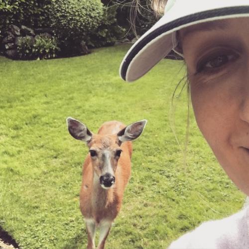 Me and my girlfriend #deer #urban #animals July 2016