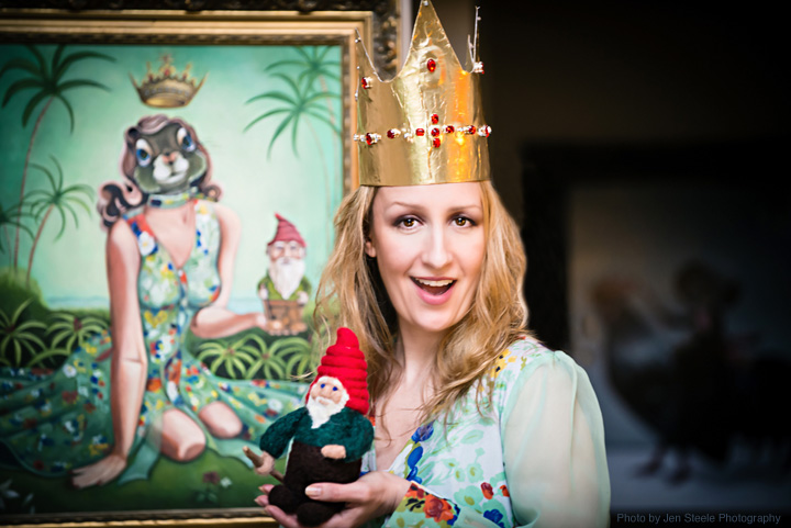 Carollyne Yardley inspired costume in front of painting titled, Tropical Girl Squirrel and Gnome (18 x 24, oil on canvas, available for purchase at Romancing the Squirrel show, February 22 - April 01, 2013)