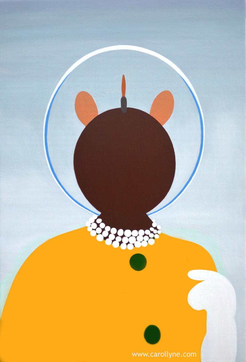 Space Hat Dot Pictogram, 24 x 36, oil on board, 2014, Carollyne Yardley