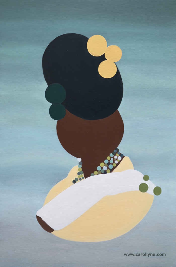 Green Bun Dot Pictogram, 24 x 36, Oil on Board, 2014, Carollyne Yardley