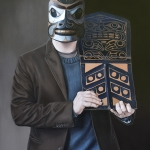 Rande Cook: Squirrel Mask and Chief's Copper, Oil on wood panel, 2014, Carollyne Yardley